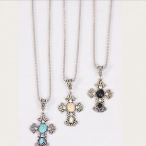 Semiprecious Stone Cross Necklace